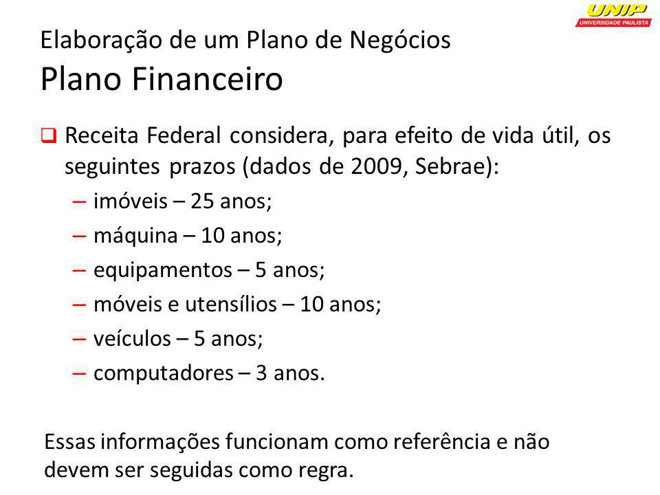 Elaboração de um Plano de Negócios Plano Financeiro Receita Federal considera, para efeito de vida útil, os seguintes prazos (dados de 2009, Sebrae):