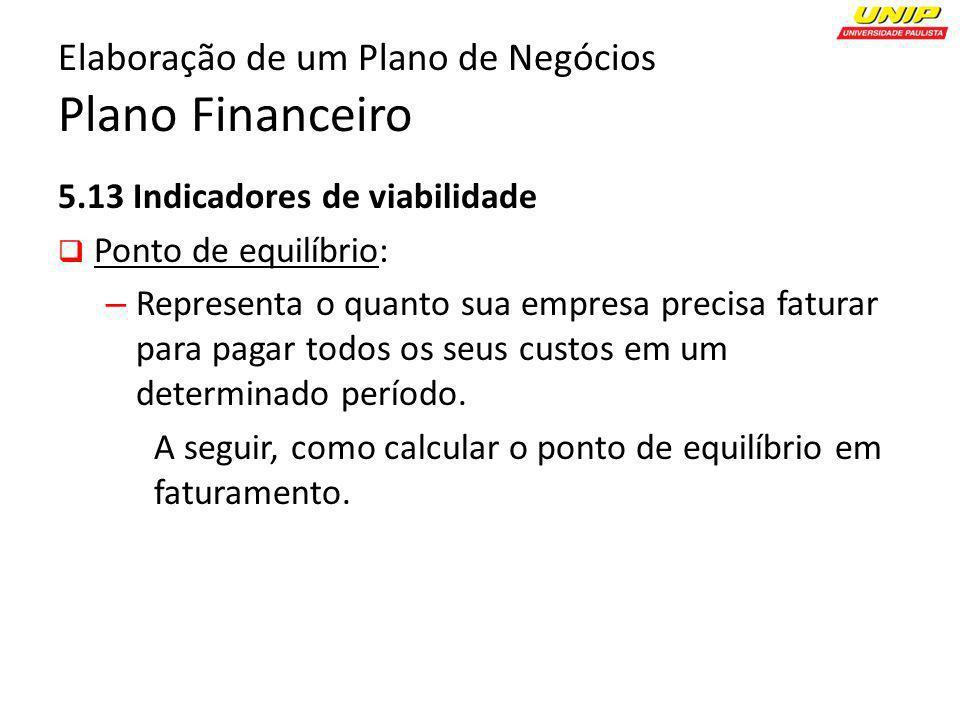 5.13 Indicadores de viabilidade Ponto de equilíbrio: – Representa o quanto sua empresa precisa faturar para pagar todos os seus custos em um determina