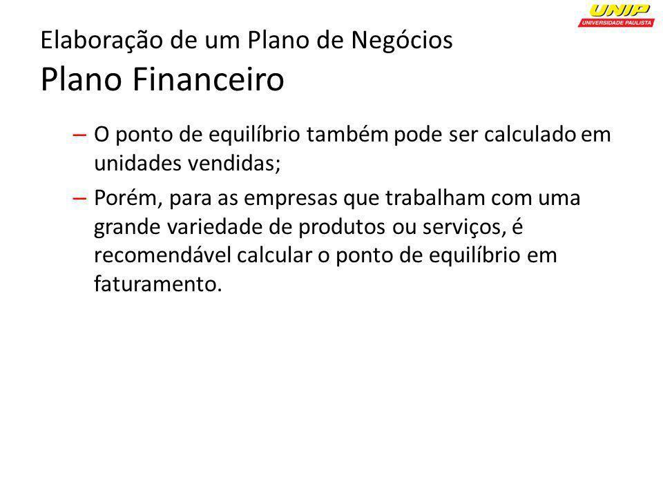 Elaboração de um Plano de Negócios Plano Financeiro – O ponto de equilíbrio também pode ser calculado em unidades vendidas; – Porém, para as empresas
