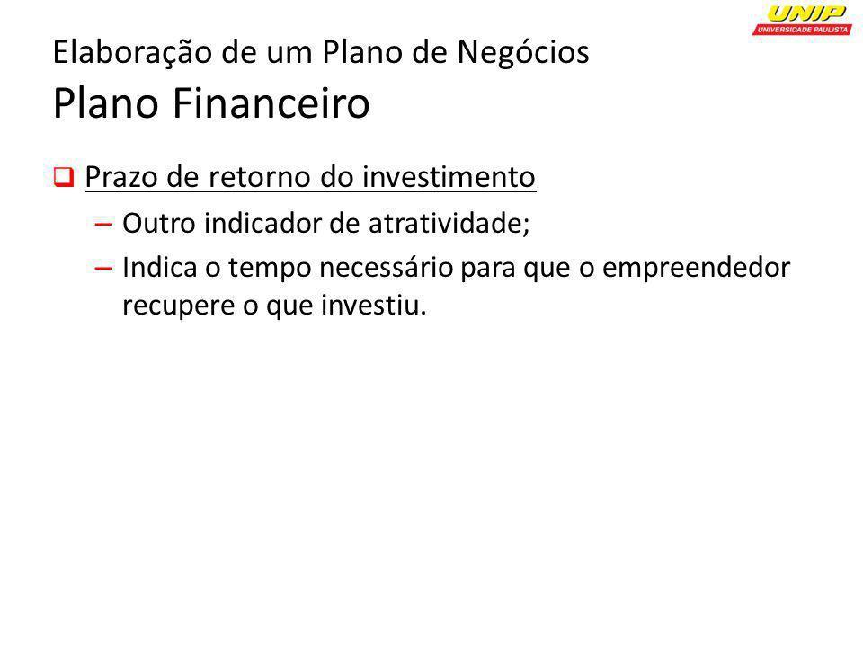Elaboração de um Plano de Negócios Plano Financeiro Prazo de retorno do investimento – Outro indicador de atratividade; – Indica o tempo necessário pa