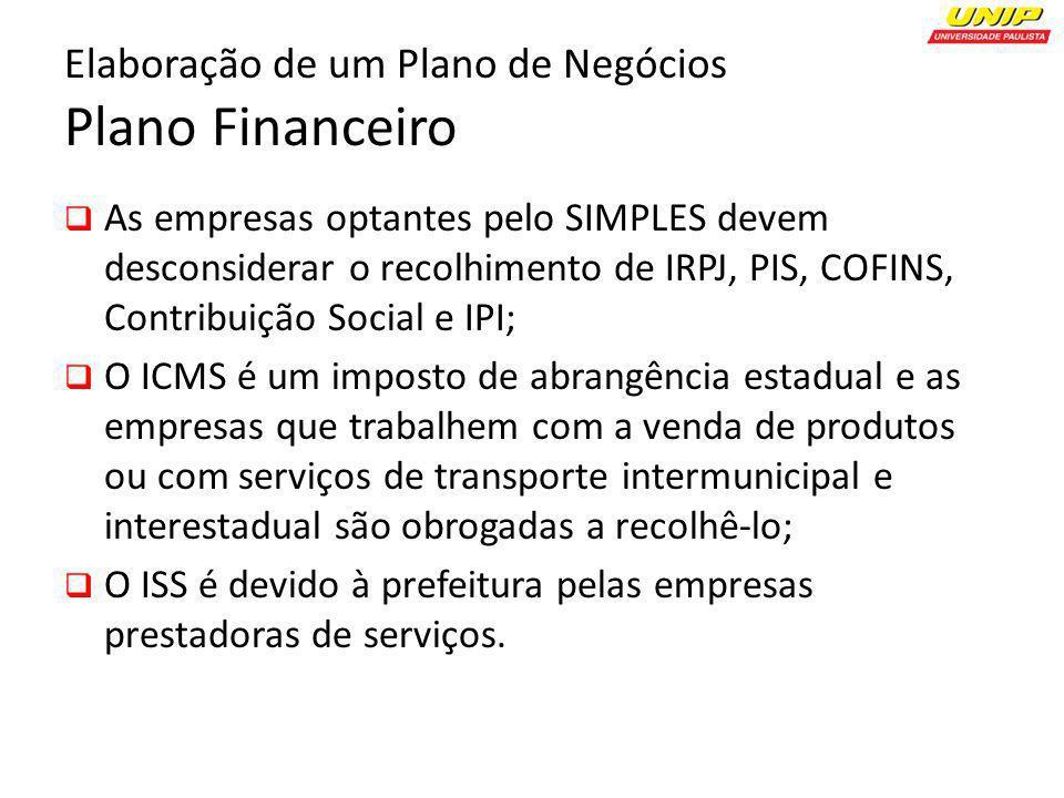 Elaboração de um Plano de Negócios Plano Financeiro As empresas optantes pelo SIMPLES devem desconsiderar o recolhimento de IRPJ, PIS, COFINS, Contrib