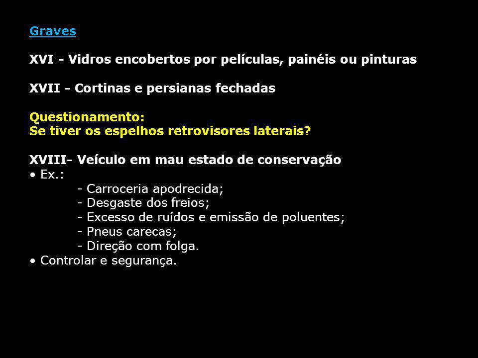 Graves XVI - Vidros encobertos por películas, painéis ou pinturas XVII - Cortinas e persianas fechadas Questionamento: Se tiver os espelhos retrovisor