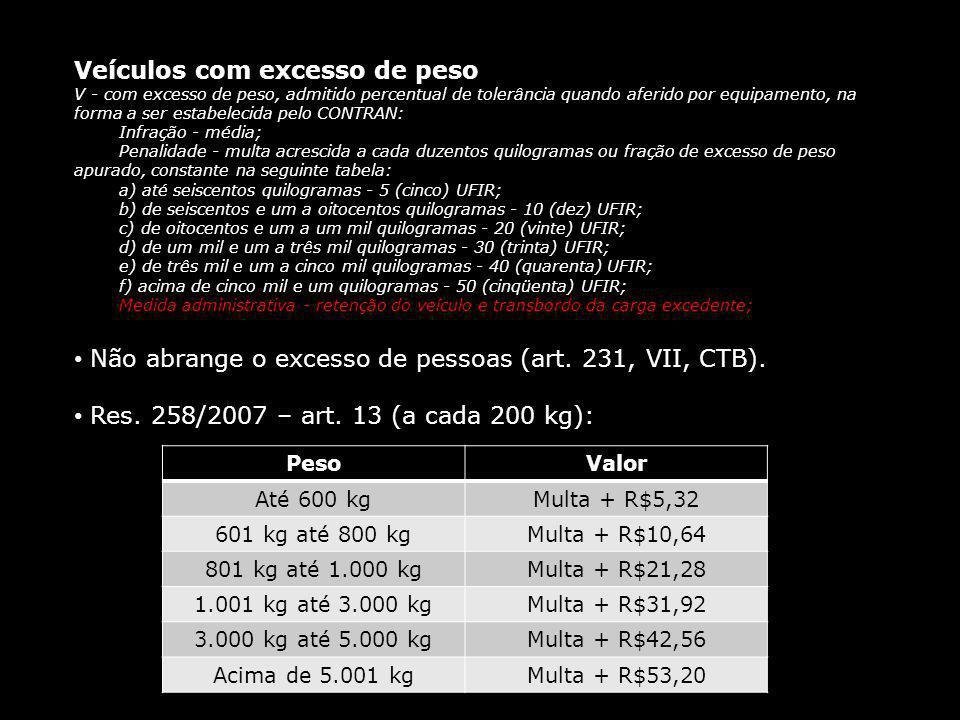 Veículos com excesso de peso V - com excesso de peso, admitido percentual de tolerância quando aferido por equipamento, na forma a ser estabelecida pe