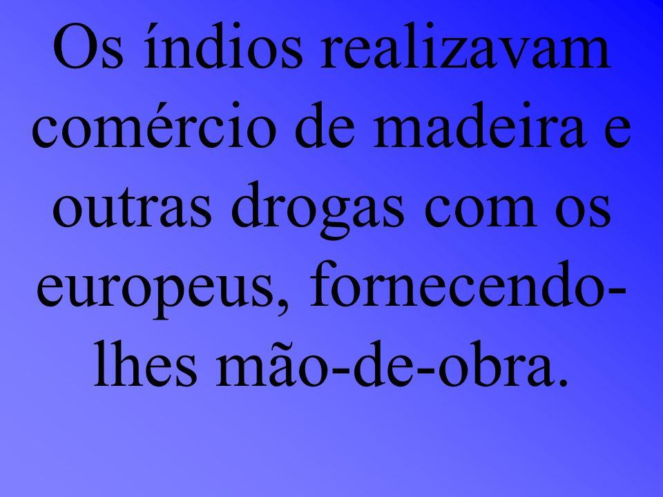 Os índios realizavam comércio de madeira e outras drogas com os europeus, fornecendo- lhes mão-de-obra.