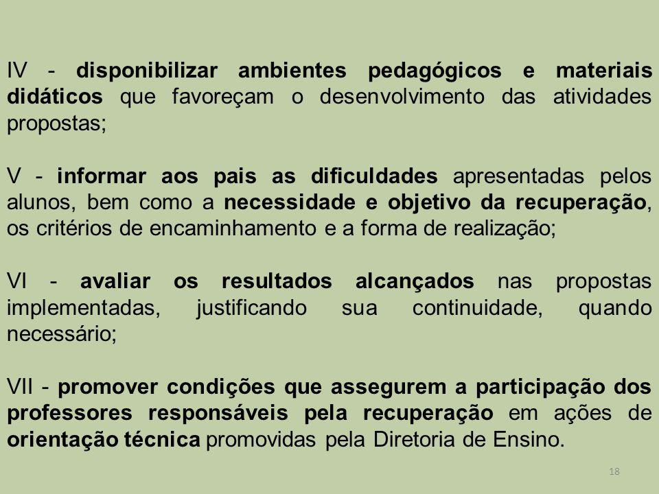 IV - disponibilizar ambientes pedagógicos e materiais didáticos que favoreçam o desenvolvimento das atividades propostas; V - informar aos pais as dif