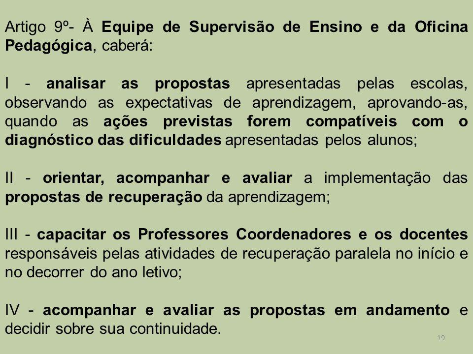 Artigo 9º- À Equipe de Supervisão de Ensino e da Oficina Pedagógica, caberá: I - analisar as propostas apresentadas pelas escolas, observando as expec
