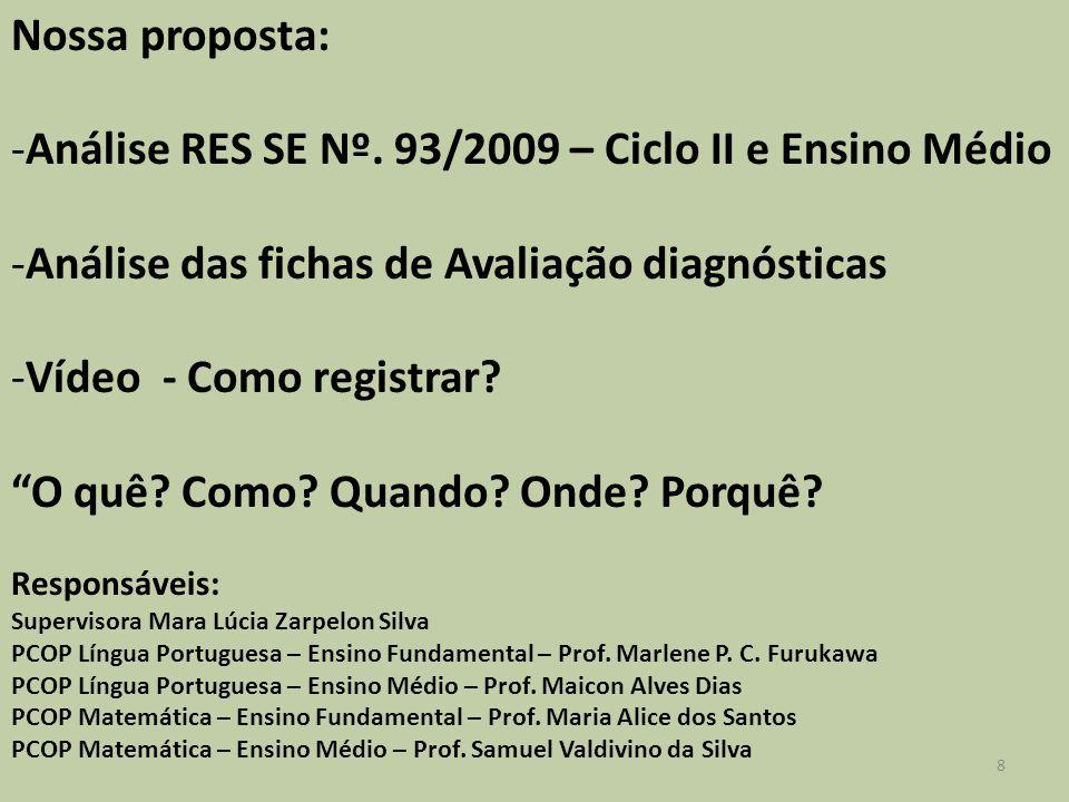 Nossa proposta: -Análise RES SE Nº. 93/2009 – Ciclo II e Ensino Médio -Análise das fichas de Avaliação diagnósticas -Vídeo - Como registrar? O quê? Co