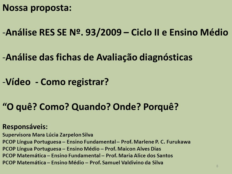 Nossa proposta: -Análise RES SE Nº.