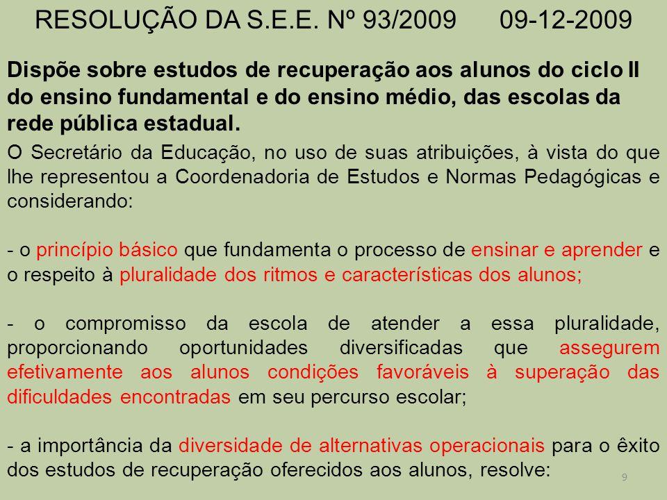 RESOLUÇÃO DA S.E.E. Nº 93/2009 09-12-2009 Dispõe sobre estudos de recuperação aos alunos do ciclo II do ensino fundamental e do ensino médio, das esco
