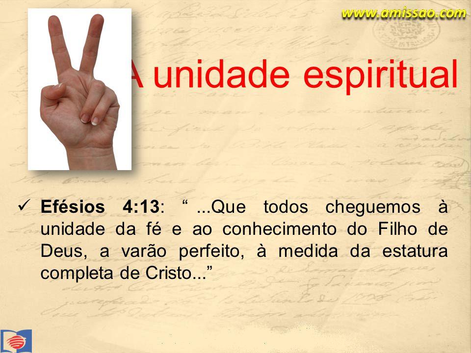 Efésios 4:13:...Que todos cheguemos à unidade da fé e ao conhecimento do Filho de Deus, a varão perfeito, à medida da estatura completa de Cristo...