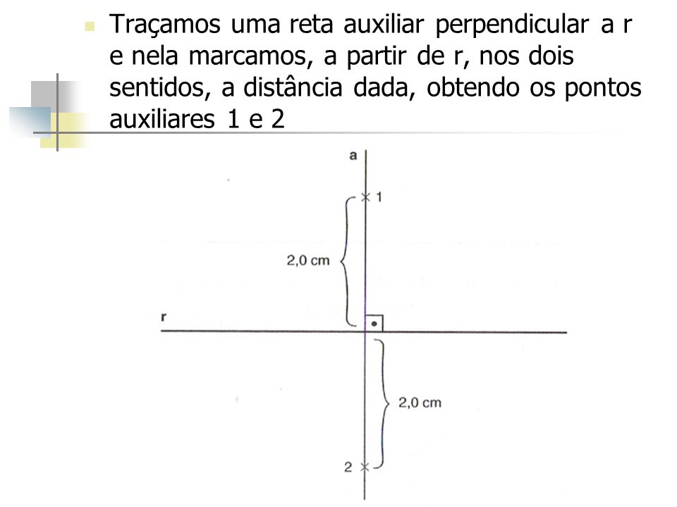 Traçamos uma reta auxiliar perpendicular a r e nela marcamos, a partir de r, nos dois sentidos, a distância dada, obtendo os pontos auxiliares 1 e 2