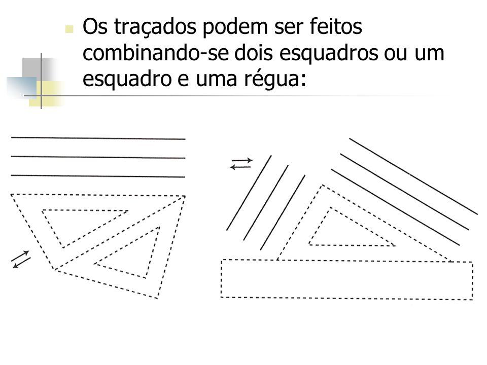 Os traçados podem ser feitos combinando-se dois esquadros ou um esquadro e uma régua: