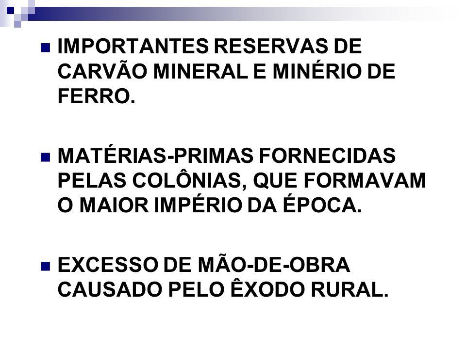IMPORTANTES RESERVAS DE CARVÃO MINERAL E MINÉRIO DE FERRO. MATÉRIAS-PRIMAS FORNECIDAS PELAS COLÔNIAS, QUE FORMAVAM O MAIOR IMPÉRIO DA ÉPOCA. EXCESSO D