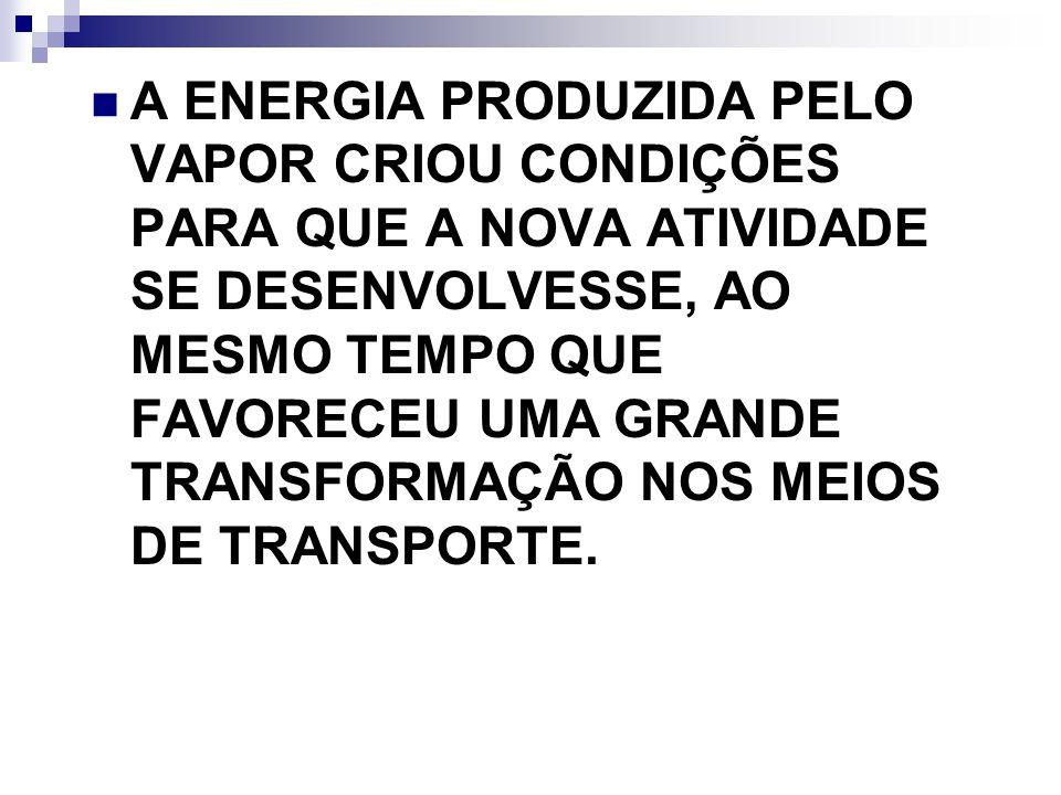 A ENERGIA PRODUZIDA PELO VAPOR CRIOU CONDIÇÕES PARA QUE A NOVA ATIVIDADE SE DESENVOLVESSE, AO MESMO TEMPO QUE FAVORECEU UMA GRANDE TRANSFORMAÇÃO NOS M