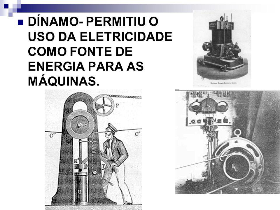 DÍNAMO- PERMITIU O USO DA ELETRICIDADE COMO FONTE DE ENERGIA PARA AS MÁQUINAS.