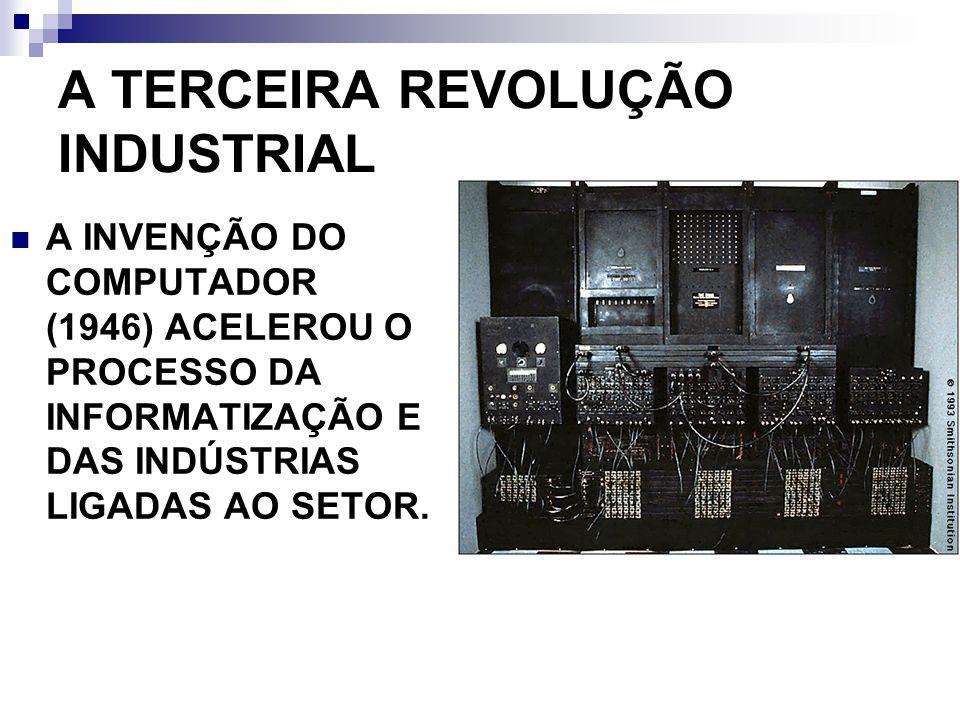 A TERCEIRA REVOLUÇÃO INDUSTRIAL A INVENÇÃO DO COMPUTADOR (1946) ACELEROU O PROCESSO DA INFORMATIZAÇÃO E DAS INDÚSTRIAS LIGADAS AO SETOR.