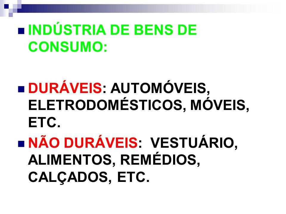 INDÚSTRIA DE BENS DE CONSUMO: DURÁVEIS: AUTOMÓVEIS, ELETRODOMÉSTICOS, MÓVEIS, ETC. NÃO DURÁVEIS: VESTUÁRIO, ALIMENTOS, REMÉDIOS, CALÇADOS, ETC.