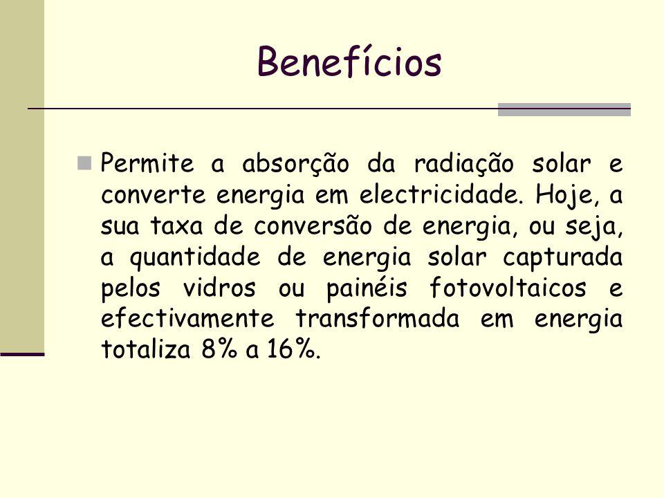 Benefícios Permite a absorção da radiação solar e converte energia em electricidade. Hoje, a sua taxa de conversão de energia, ou seja, a quantidade d