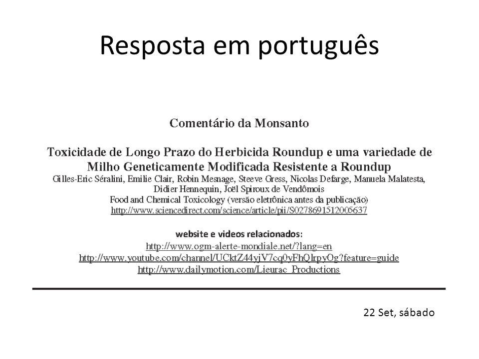 Resposta em português 22 Set, sábado