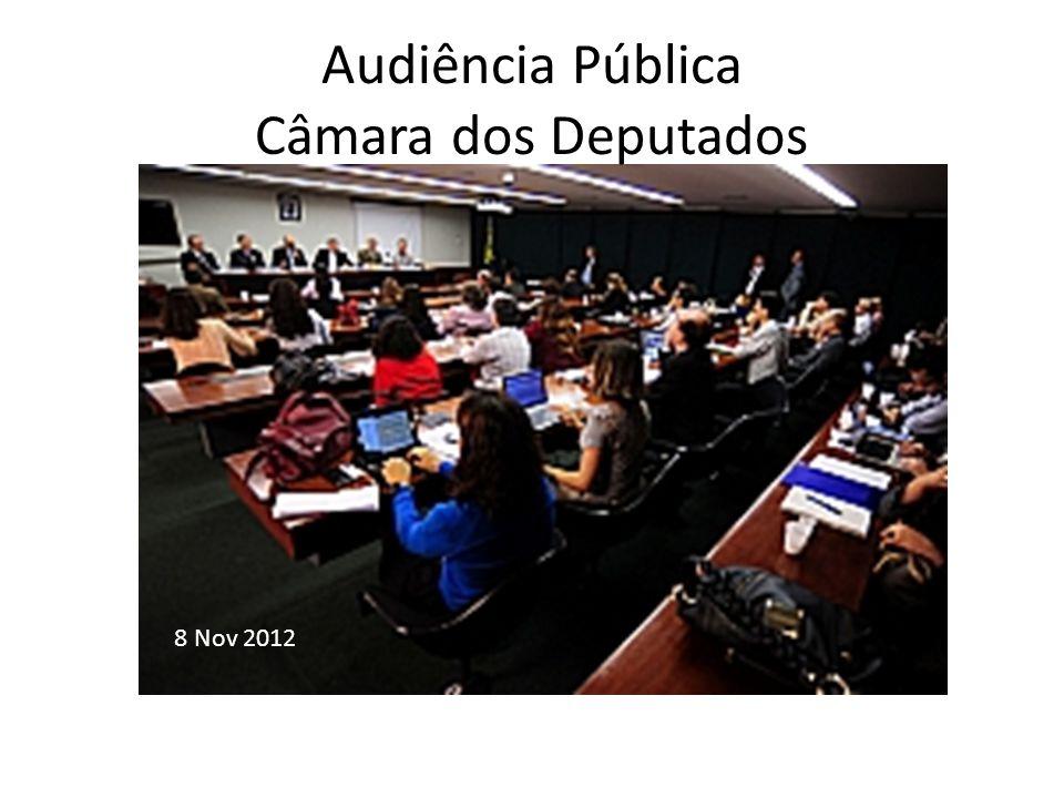 Audiência Pública Câmara dos Deputados 8 Nov 2012