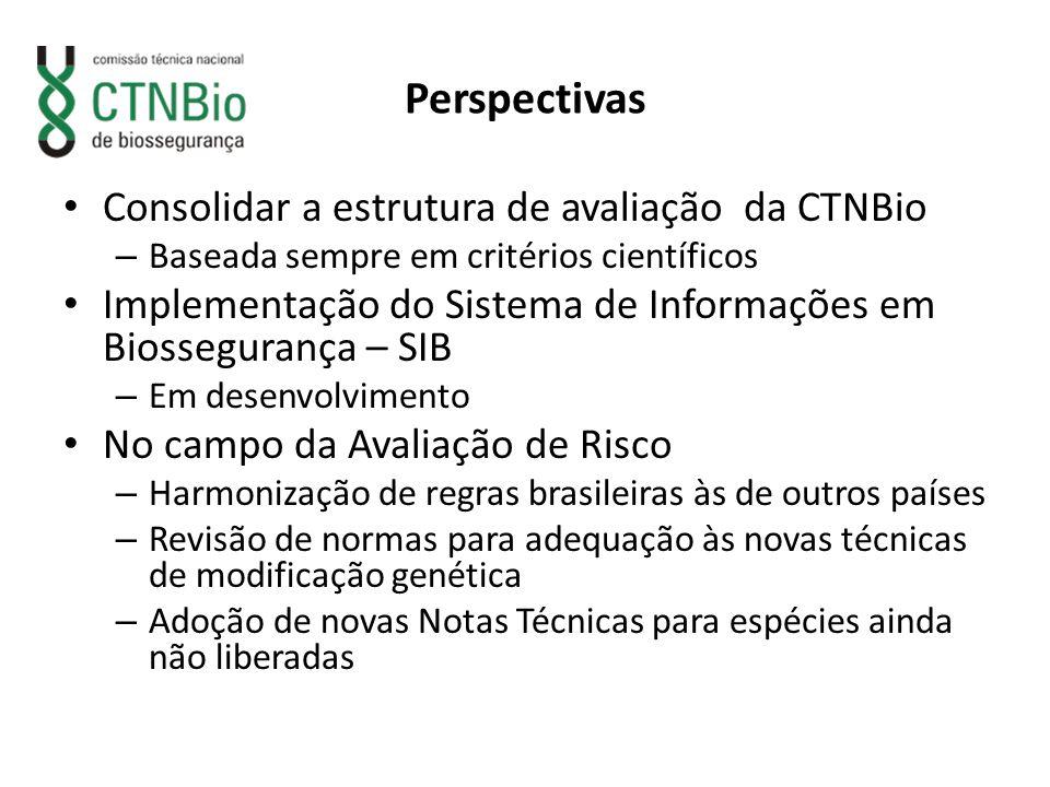 Perspectivas Consolidar a estrutura de avaliação da CTNBio – Baseada sempre em critérios científicos Implementação do Sistema de Informações em Biosse
