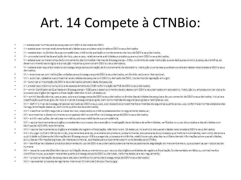 Art. 14 Compete à CTNBio: I – estabelecer normas para as pesquisas com OGM e derivados de OGM; II – estabelecer normas relativamente às atividades e a