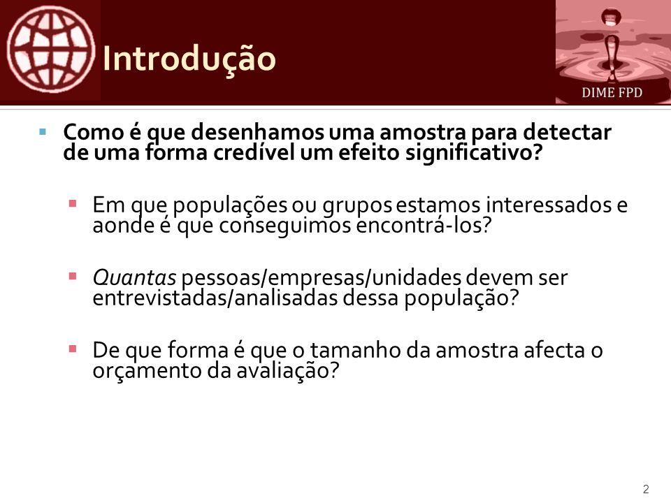 Introdução Como é que desenhamos uma amostra para detectar de uma forma credível um efeito significativo.