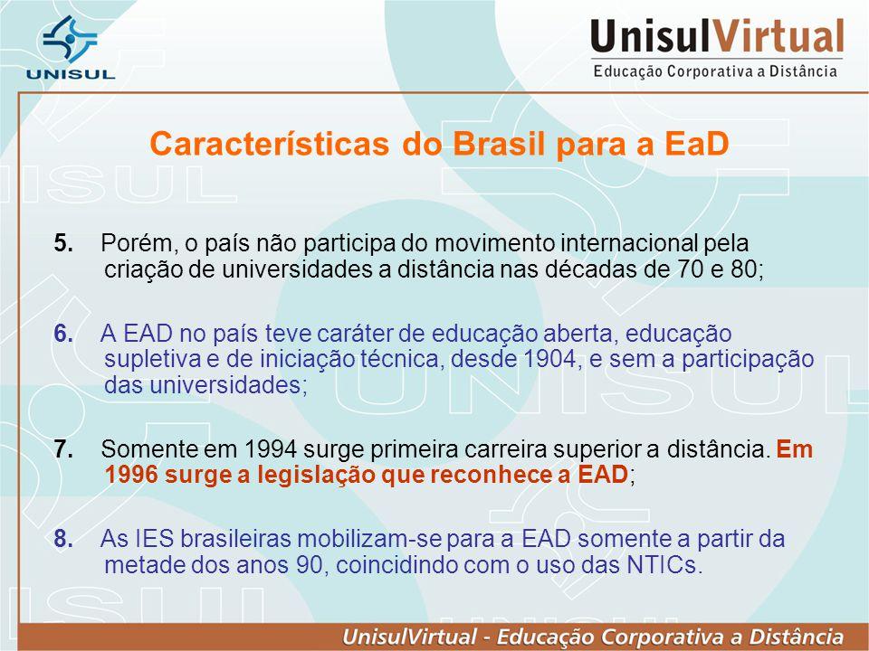 Características do Brasil para a EaD 5. Porém, o país não participa do movimento internacional pela criação de universidades a distância nas décadas d