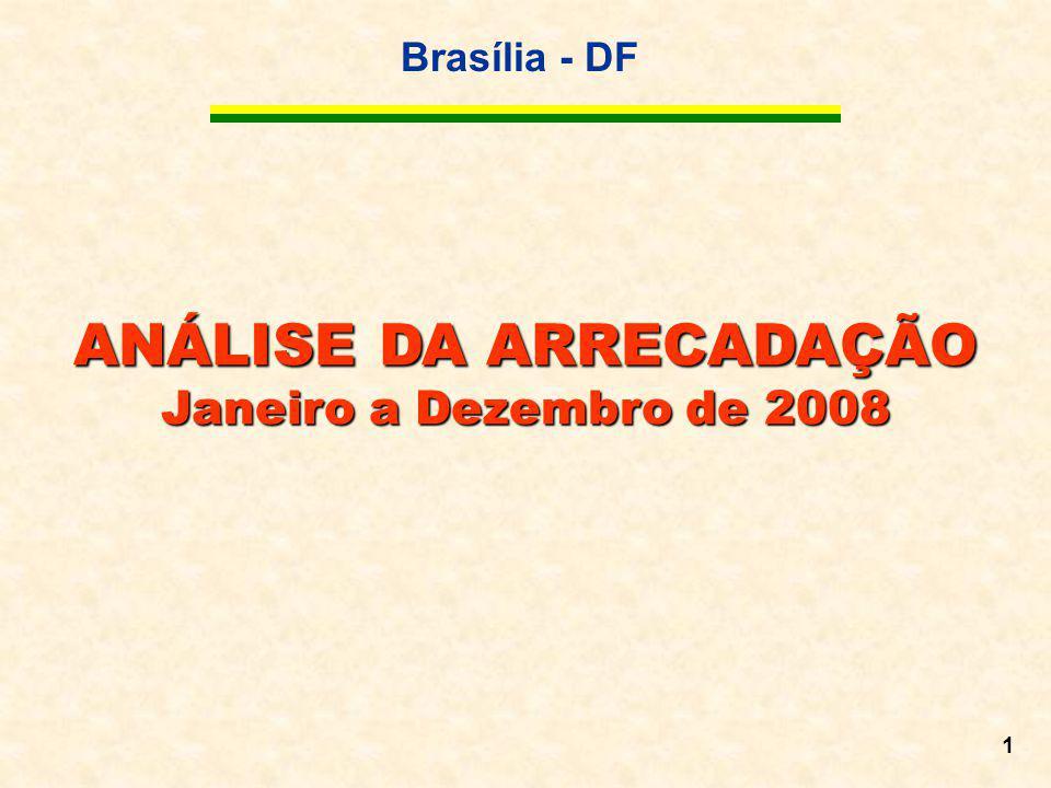 Brasília - DF 1 ANÁLISE DA ARRECADAÇÃO Janeiro a Dezembro de 2008