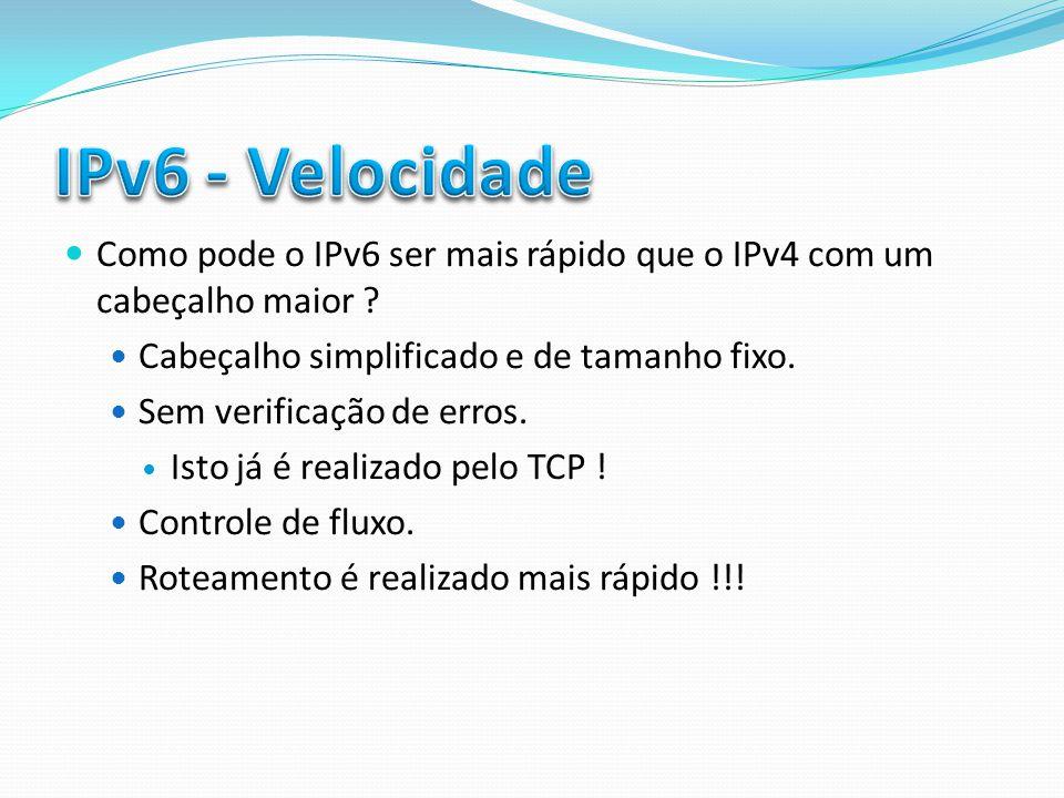 Como pode o IPv6 ser mais rápido que o IPv4 com um cabeçalho maior ? Cabeçalho simplificado e de tamanho fixo. Sem verificação de erros. Isto já é rea