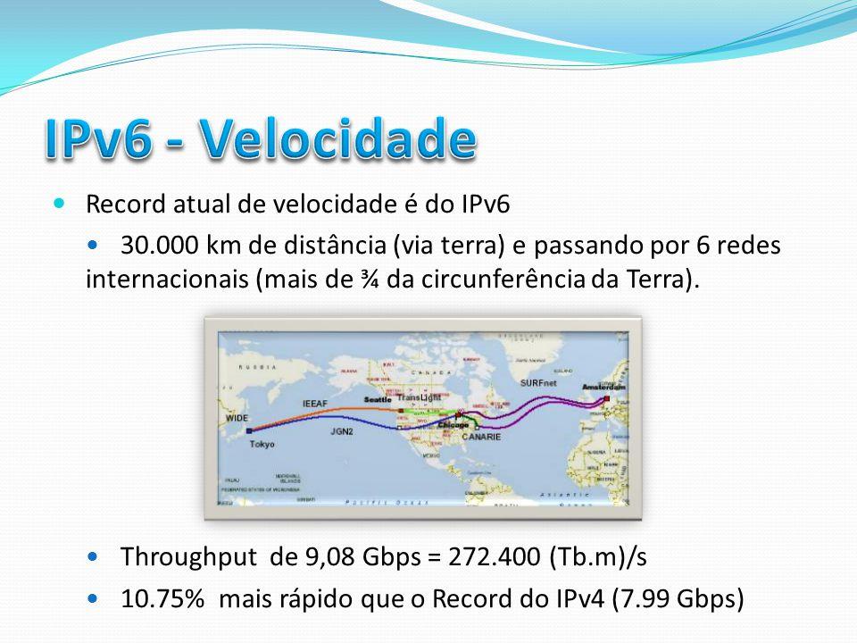 Record atual de velocidade é do IPv6 30.000 km de distância (via terra) e passando por 6 redes internacionais (mais de ¾ da circunferência da Terra).