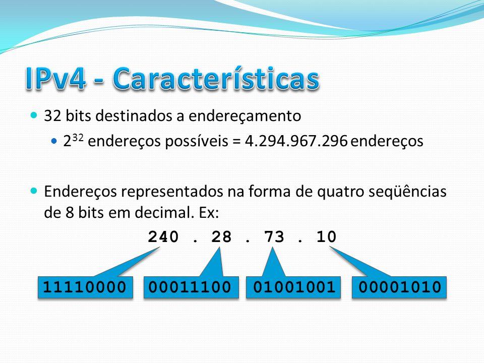 32 bits destinados a endereçamento 2 32 endereços possíveis = 4.294.967.296 endereços Endereços representados na forma de quatro seqüências de 8 bits