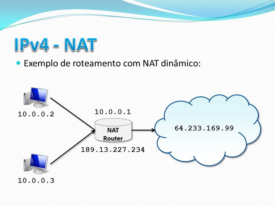 Exemplo de roteamento com NAT dinâmico: 64.233.169.99 NAT Router 10.0.0.2 10.0.0.3 189.13.227.234 10.0.0.1