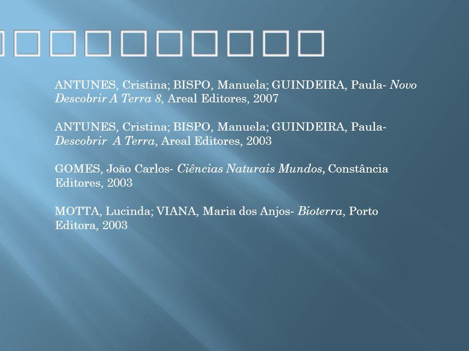 ANTUNES, Cristina; BISPO, Manuela; GUINDEIRA, Paula- Novo Descobrir A Terra 8, Areal Editores, 2007 ANTUNES, Cristina; BISPO, Manuela; GUINDEIRA, Paul