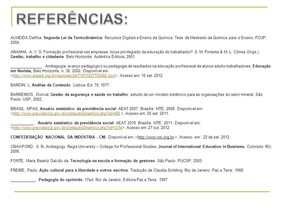 ALMEIDA Delfina. Segunda Lei da Termodinâmica: Recursos Digitais e Ensino da Química. Tese de Mestrado de Química para o Ensino. FCUP, 2004. ARANHA, A
