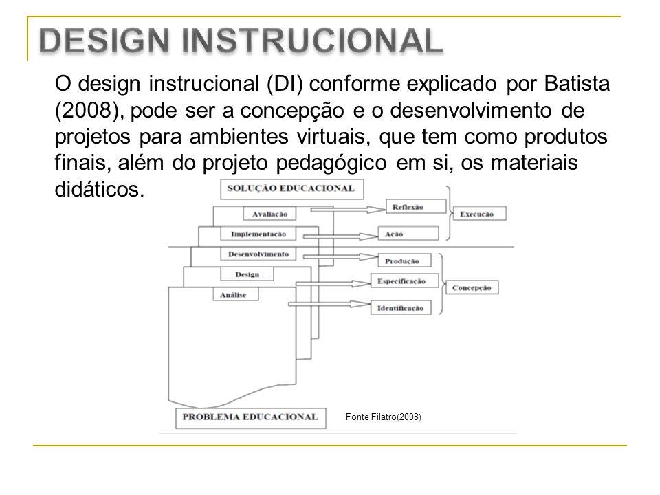 O design instrucional (DI) conforme explicado por Batista (2008), pode ser a concepção e o desenvolvimento de projetos para ambientes virtuais, que te