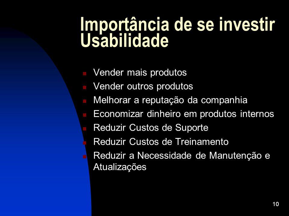 10 Importância de se investir Usabilidade Vender mais produtos Vender outros produtos Melhorar a reputação da companhia Economizar dinheiro em produto