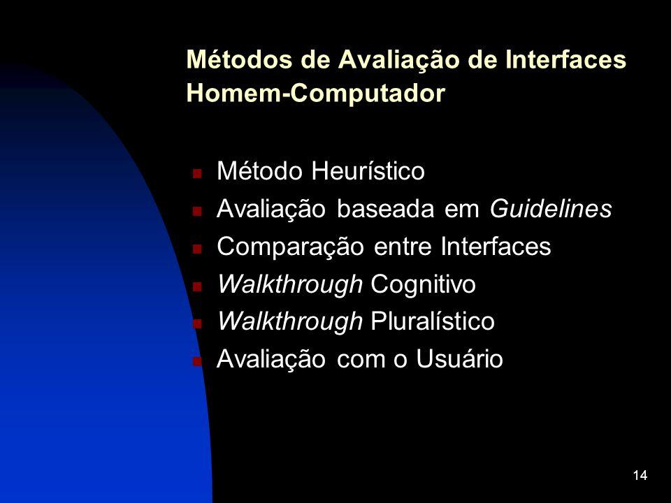 14 Métodos de Avaliação de Interfaces Homem-Computador Método Heurístico Avaliação baseada em Guidelines Comparação entre Interfaces Walkthrough Cogni