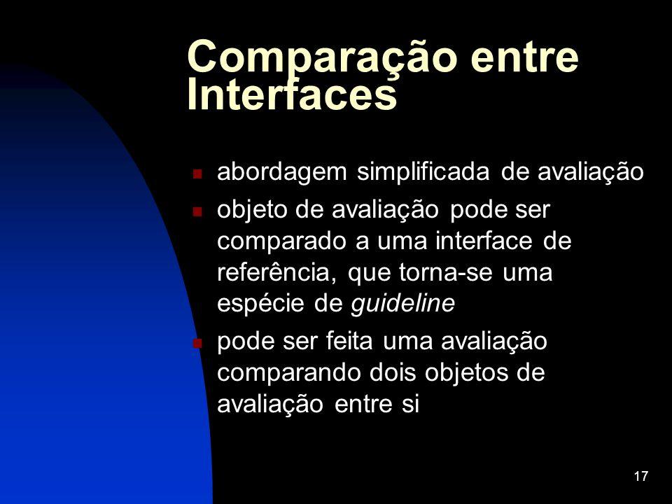 17 Comparação entre Interfaces abordagem simplificada de avaliação objeto de avaliação pode ser comparado a uma interface de referência, que torna-se