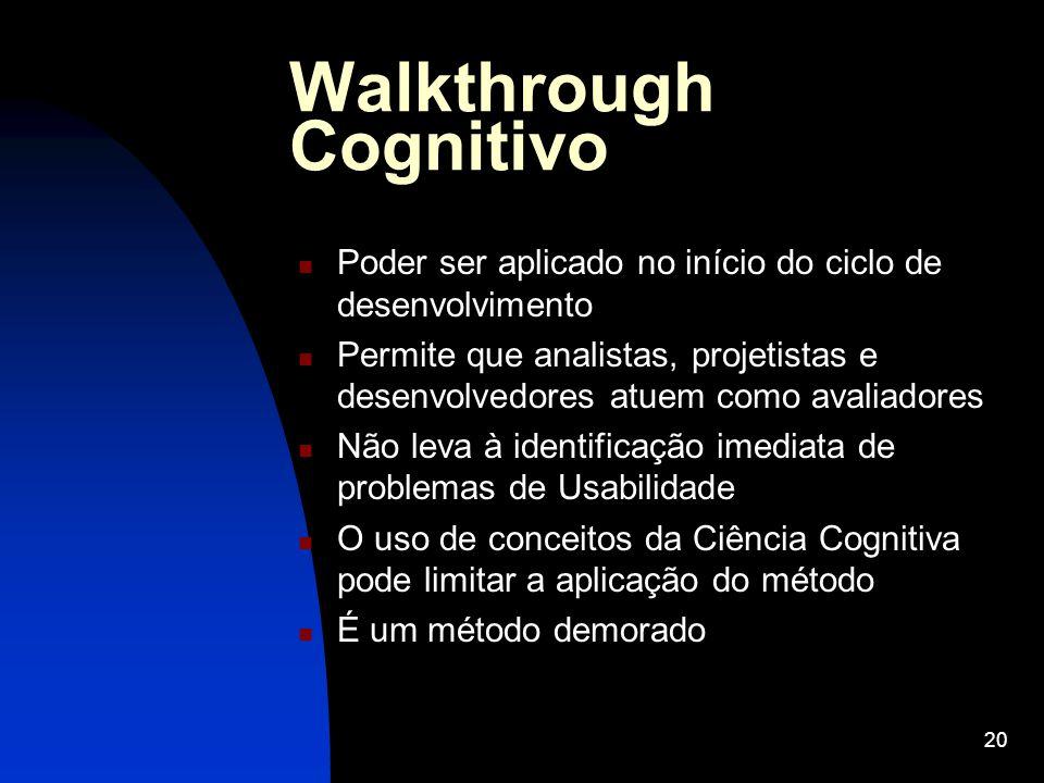 20 Walkthrough Cognitivo Poder ser aplicado no início do ciclo de desenvolvimento Permite que analistas, projetistas e desenvolvedores atuem como aval