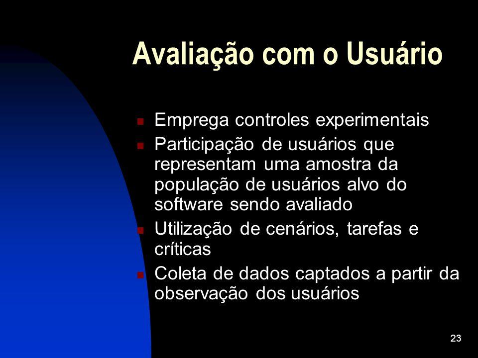 23 Avaliação com o Usuário Emprega controles experimentais Participação de usuários que representam uma amostra da população de usuários alvo do softw