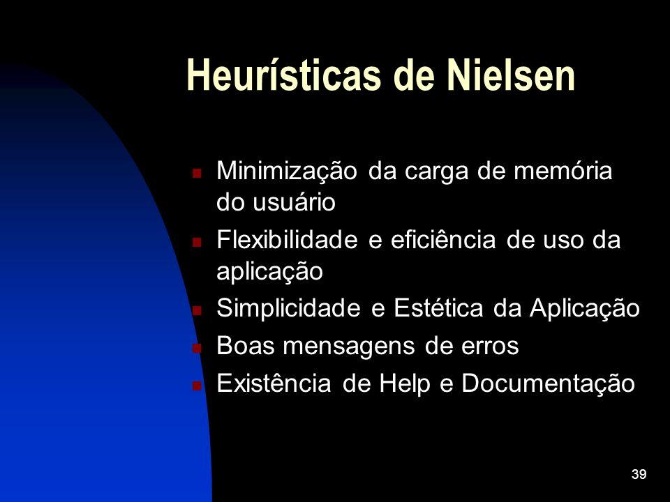 39 Heurísticas de Nielsen Minimização da carga de memória do usuário Flexibilidade e eficiência de uso da aplicação Simplicidade e Estética da Aplicaç