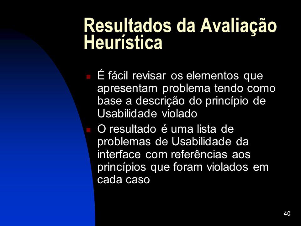 40 Resultados da Avaliação Heurística É fácil revisar os elementos que apresentam problema tendo como base a descrição do princípio de Usabilidade vio