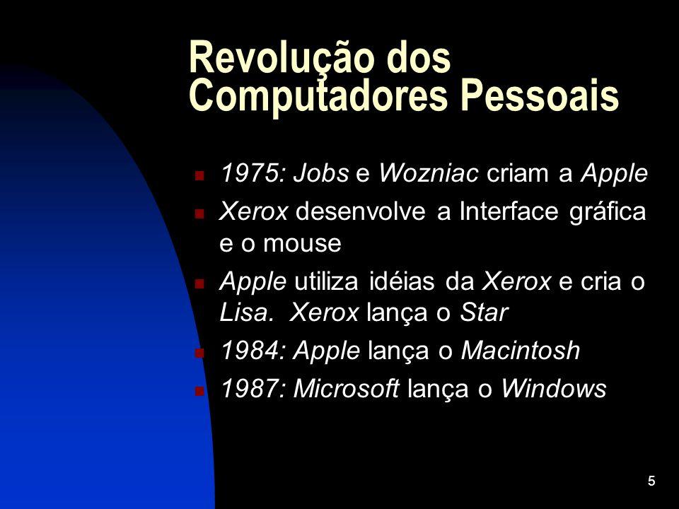5 Revolução dos Computadores Pessoais 1975: Jobs e Wozniac criam a Apple Xerox desenvolve a Interface gráfica e o mouse Apple utiliza idéias da Xerox