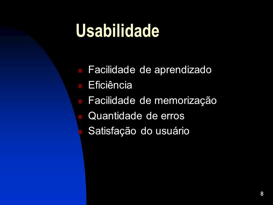 39 Heurísticas de Nielsen Minimização da carga de memória do usuário Flexibilidade e eficiência de uso da aplicação Simplicidade e Estética da Aplicação Boas mensagens de erros Existência de Help e Documentação