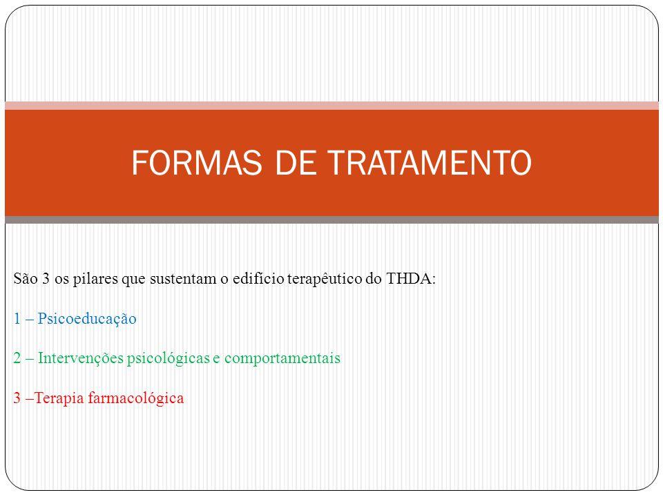 FORMAS DE TRATAMENTO São 3 os pilares que sustentam o edifício terapêutico do THDA: 1 – Psicoeducação 2 – Intervenções psicológicas e comportamentais 3 –Terapia farmacológica
