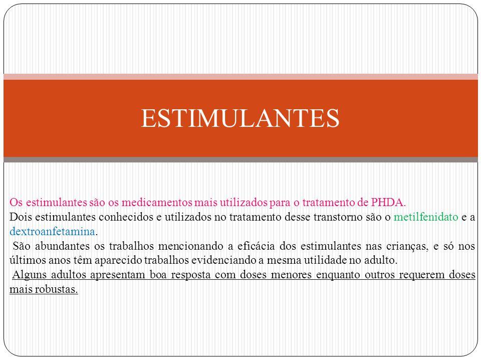 ESTIMULANTES Os estimulantes são os medicamentos mais utilizados para o tratamento de PHDA.