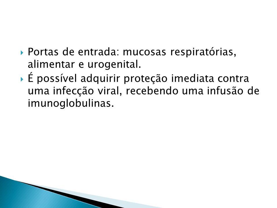 Portas de entrada: mucosas respiratórias, alimentar e urogenital. É possível adquirir proteção imediata contra uma infecção viral, recebendo uma infus
