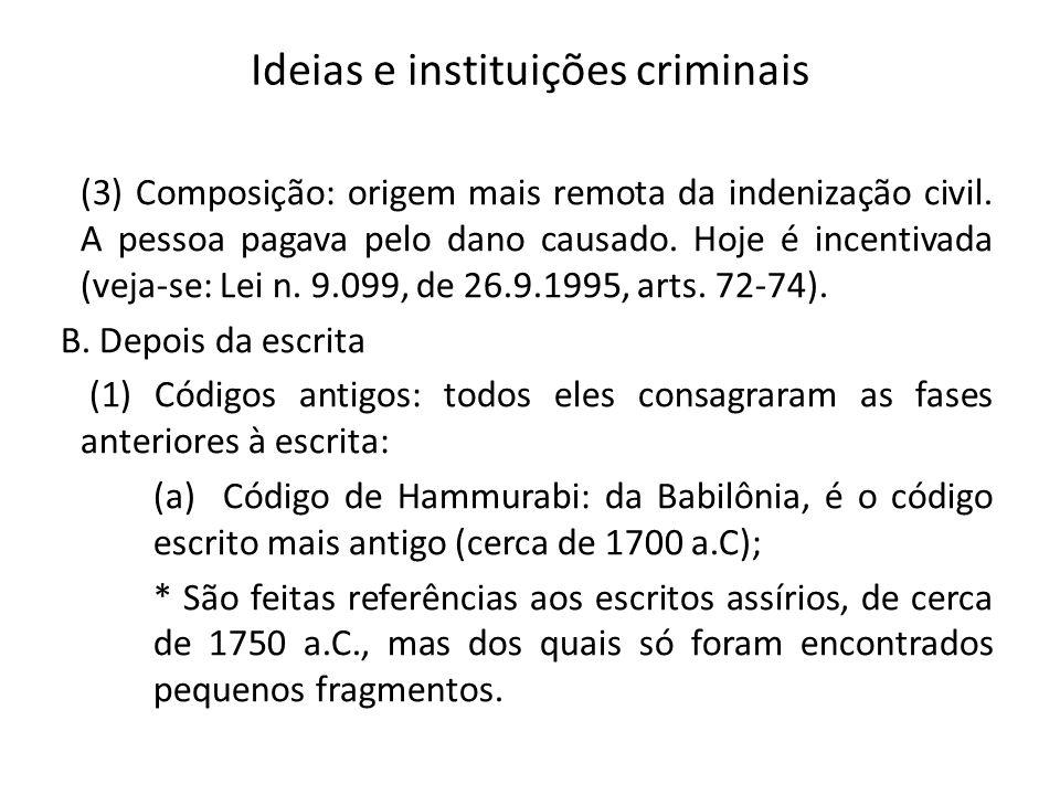 Ideias e instituições criminais (3) Composição: origem mais remota da indenização civil. A pessoa pagava pelo dano causado. Hoje é incentivada (veja-s