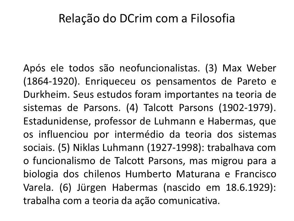 Relação do DCrim com a Filosofia Após ele todos são neofuncionalistas. (3) Max Weber (1864-1920). Enriqueceu os pensamentos de Pareto e Durkheim. Seus